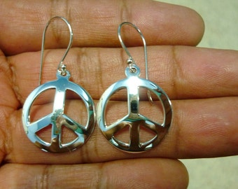 Peace Sign Earrings - Peace Earrings - 925 Sterling Silver Peace Sign Symbol Charm Earrings 7/8""