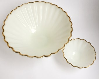White glass, gold rimmed, chip and dip set