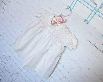 Vintage Baby Clothes Girl Dress w/ Ruffles, Lace Rosebuds, Smocking Size 3-6 Months or Doll Clothes FREE SHIPPING!