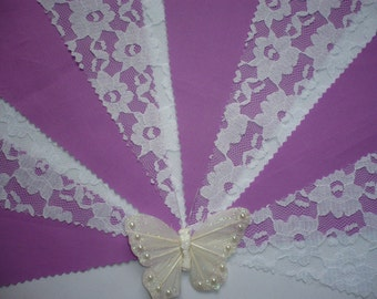 Pretty Lotus with White Lace  - Wedding / Celebration Bunting - Sold by the Metre
