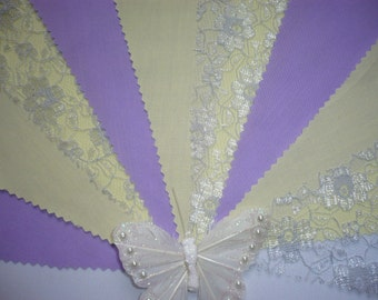 Pretty Deep Lilac & Lemon with Silver Grey Lace  - Wedding / Celebration Bunting - Sold by the Metre