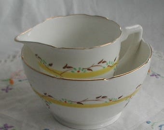 Melba Fine English Bone China Milk Jug Creamer Sugar Bowl Yellow Design