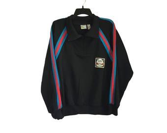 Vintage Members Only Striped Sweatshirt Black Large FREE SHIPPING!