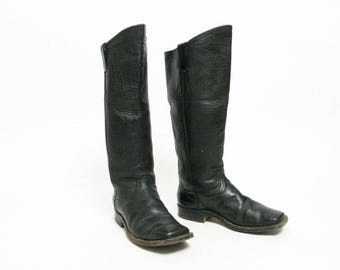 men's vintage cavalry handmade tall square toe black leather riding boots