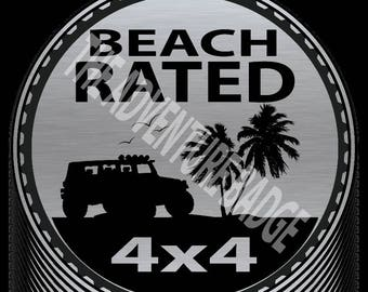 Beach Rated Jeep Badge