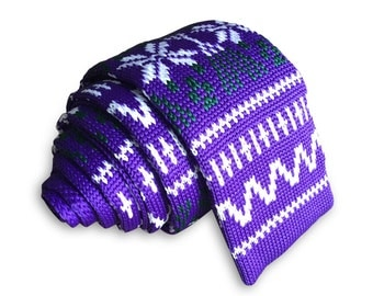 Mens Slim Woven Knitted Necktie by Poserclub - Highlight Purple