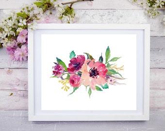 Watercolour Flower  10 x 8, Printable Wall Art, Digital Art, Digital Print, Instant Download