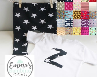 Personalised Initial T-Shirt/Top & Leggings Matching Outfit.Girls/Boys Baby/Toddler.Emma's Bambino Pick Your Own Fabric.Long/Short Sleeve.