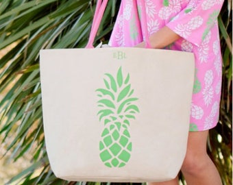 Pineapple canvas tote, beach tote