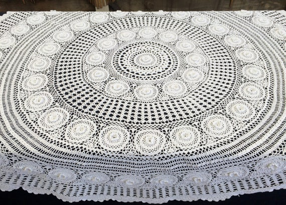 nappe au crochet large dentelle vintage ronde nappe crochet. Black Bedroom Furniture Sets. Home Design Ideas
