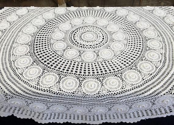 nappe au crochet large dentelle vintage ronde nappe crochet. Black Bedroom Furniture Sets. Home Design Ideas