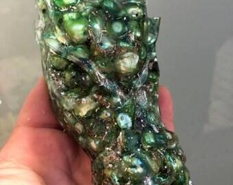 Green Pearl 10 cm esoteric orgone dragon head