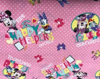 Disney Pink Minnie Mouse and Daisy Duck fabric, Disney fabric, Minnie fabric, kids fabric, cartoon fabric, cotton fabric