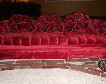 Incredible Mid-Century Sofa Red Velvet Cushions look like Hands Holding You! Far out Red Color Cool Original Cushions Mintish Condition