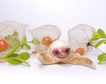 Happy Sloth Polymer Clay Figurine