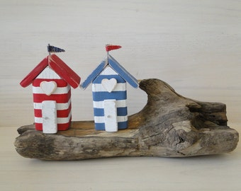 Driftwood beach huts, driftwood decor, coastal decor, driftwood art, anniversary gift, beach decor, beach cottages, wooden houses