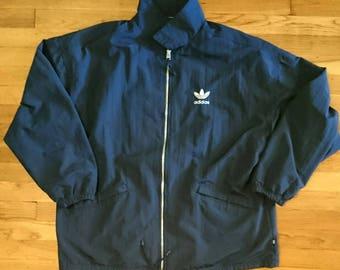 1990s Vintage Navy Blue D7 F186 Nylon Adidas Jacket