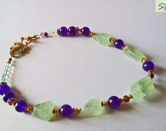 Fluorite necklace, Artisan jewelry, Green Purple Rainbow fluorite necklace, Raw crystal, semi precious gemstone necklace, unusual gemstone