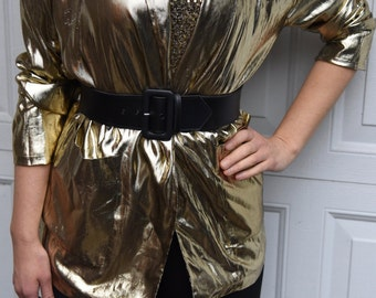 Vintage 1980s 1970s  Gold Glam  Blazer Disco Made in The USA