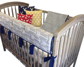 Gray Stag Horn Crib Bedding with Rail Guard- 4 Piece Set-Gray Navy