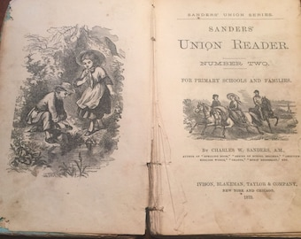 FREE SHIPPING | 1873 Sanders Union Reader | Antique Book | Vintage Book | 1800s Book A4