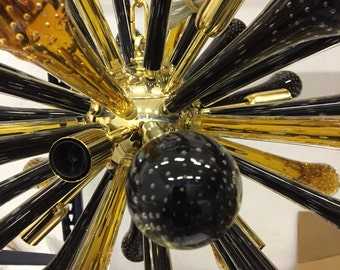 chandelier sputnik amber and black glass murano gold 24 metal frame