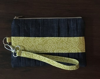 Denim and Chartreuse Pleated Clutch