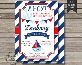 Nautical Birthday Invitation, Birthday Invitations for Boys, Nautical First Birthday Invitation, Navy & Red, Birthday Invite, First Birthday