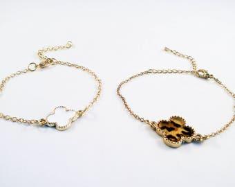 ALL3 - Bracelet gold Monogram clovers 4 leaves Email Leopard or White / Gold Bracelet Luxury 4 Leaf Clover White Gold Leopard Enamel