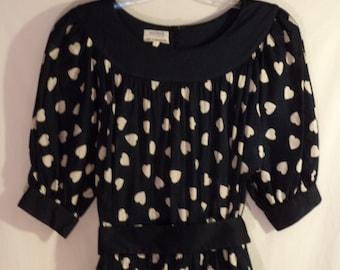 Vintage AKRIS heart dress// Couture Switzerland 80s full skirt puffy sleeves black navy blue white cotton// Women's size medium 8 10 12 USA