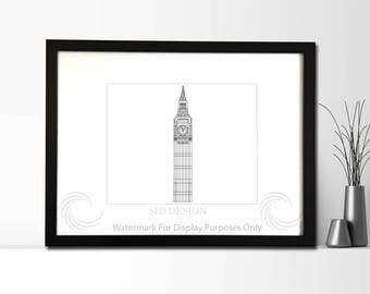 Big Ben Clock, London, UK Sketch, Picture, Framed Picture, Digital Art
