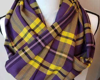 Purple and yellow plaid infinity scarf
