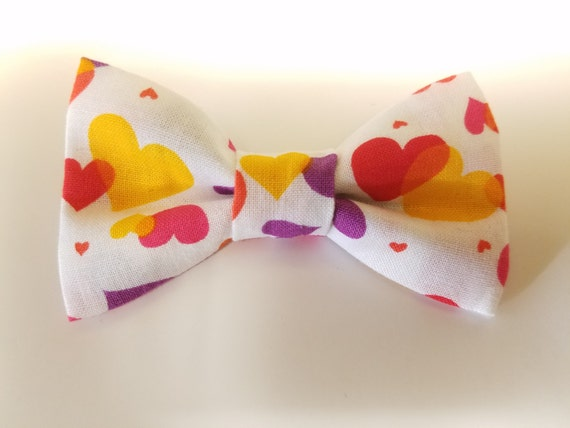 Multi Color Hearts Bow Tie for Cat or Small Dog Collars, Matching Velcro Collar