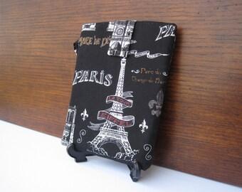 SALE Paris Kindle Case, Eiffel Tower Kindle Sleeve, Black Paris Kindle Sleeve with Eiffel Tower, Paris Wristlet, Eiffel Tower Reader Case