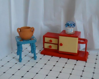 Vintage dollhouse furniture, Dollhouse kitchen, dollhouse cabinet, Dollhouse stool, Wooden doll furniture, 50s dollhouse furniture