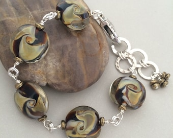 Lampwork Glass Wired Bracelet, Brown Lampwork Glass Bracelet