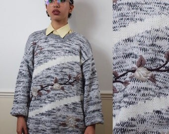 vintage chunky sweater | oversized ugly jumper | floral knit size XL