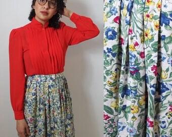 vintage floral skirt | highwaisted midi | 80s maxi skirt pleated | size 12