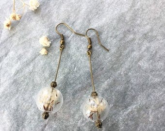 earrings with glass globe that encloses shower heads, dandelion seeds-Botanic-natural jewelry