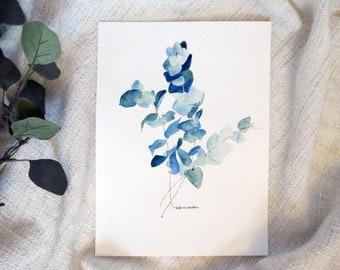 Eucalyptus watercolor painting • Peinture eucalyptus aquarelle - fait main et produit unique
