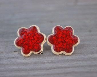 Red flower earrings, Ceramic stud, red earrings, ceramic earrings, spring earrings, Surgical stee, red stud earrings, flower, sensitive ears