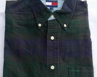Vintage 90s TOMMY HILFIGER Regular Oxford Button down Green Dark Plaid Size S Shirt