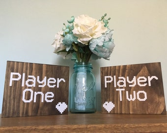 Player One and Player Two pixel heart table sign chair signs, Mr and Mrs Sweetheart table signs, Rustic Wedding Signs, Bride and Groom Signs