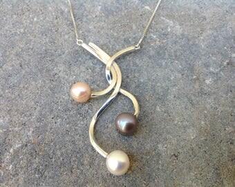 Tri-color Pearl Pendant, Multi-Color Pearl Pendant, Pearl Necklace, Silver Pendant, Silver Necklace, Sterling Silver
