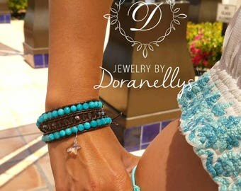 Bracelet, boho,   leather wrap,  blue, faceted gemstones, angelite, Crystals, Sterling silver,  boho style, moon, jewelry, casual, summer