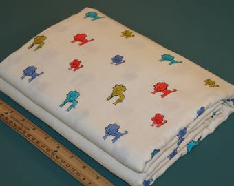 2 Yards Cotton + Steel Clover Dog Lions Double Gauze Fabric NEW