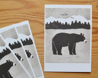 "Postcard set of 4 ""black bear"""