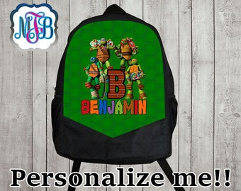 Personalized Ninja turtle backpack/ninja turtle backpack/boys backpack/personalized boys backpack/ black backpack/B1
