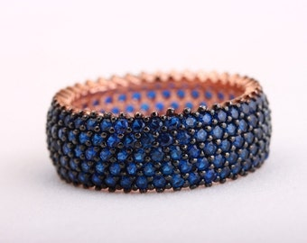 Elegant! Turkish Handmade Jewelry Sapphire 5 Banded 925 Sterling Silver Ring Size 6.5