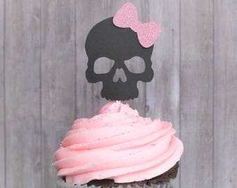 Cupcake Toppers, Skull Cupcake Toppers, Pirate Girl Birthday, Pink Pirate Theme, Girly Skull Toppers, Skull with Bow, Party Decorations